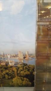 Uitzicht op de vierde etage van het Ikazia..... Maar Rotterdam is hier een print. Prima idee.